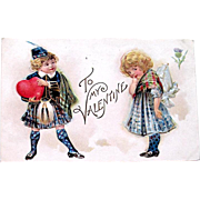 Delightful Valentine's Day Postcard, Cute Kids in Scotland