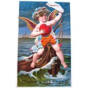 Cupid at Sea German Valentine Postcard — Hair on Cupid, Cloth Flowers