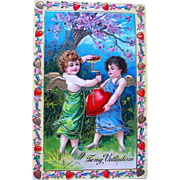 Gorgeous German Valentine Postcard—Cupids Inflating Heart (1 of 2)