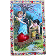 Beautiful German Valentine Postcard —Cupids Preparing Gifts (2 of 2)