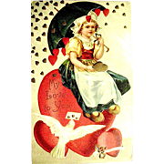 IAP Valentine Postcard--Hearts Raining on Dutch Girl