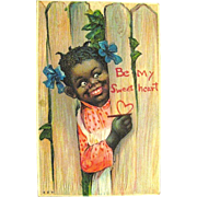 Pretty Antique Valentine Postcard--Pretty Girl--Black Americana