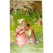 Beautiful German Easter Postcard—Girl with Large Easter Rabbit