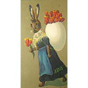 1907 German Printed Easter Postcard—Humanized Lady Rabbit w Tulips