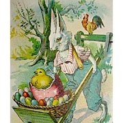 Early Easter Postcard—Dressed Rabbit w Wheelbarrow Filled with Eggs and a Chick
