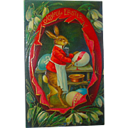 Outstanding German Easter Postcard—Humanized Rabbit Decorates Eggs