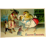 Fantasy Clapsaddle Humanized Rabbit - Chick Family Easter Postcard