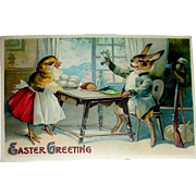 Clapsaddle Humanized Rabbit and Chick Enjoy Breakfast Easter Postcard