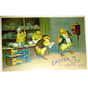 Clapsaddle Easter Postcard—Humanized Office Workers at Egg Store