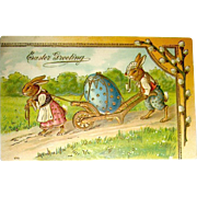 German Easter Postcard—Humanized Rabbits Move Huge Egg
