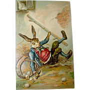 1907 German Easter Postcard—Humanized Rabbit Robber Takes a Fall