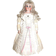 Beautiful German Bisque Belton Fashion Doll — Pretty Gown, Exquisite Mohair Wig