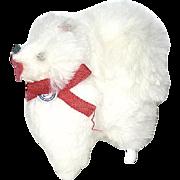 Vintage German Dollhouse White Fur Pomeranian Dog--free shipping