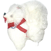Vintage German Dollhouse White Fur Pomeranian Dog--free shipping
