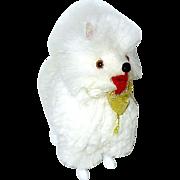 Vintage Miniature White Fur Pomeranian Dog - German - For Dollhouse