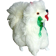 Vintage Miniature White Fur Pomeranian Dogs for Dollhouse--GERMAN