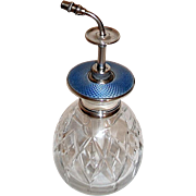 Rare English Sterling Blue Guilloche Enamel Decorated Perfume Atomizer