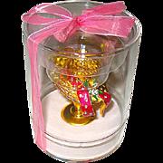 "Unused Estee Lauder ""PLEASURES"" Full Solid Perfume Compact in Display Case"