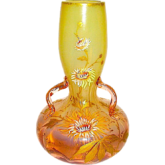 Gorgeous Bohemian Opalescent 3 Handled Art Nouveau Vase by Harrach