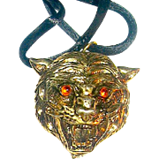 Scarce Faberge Tigress Head Solid Perfume Pendant Necklace - FULL