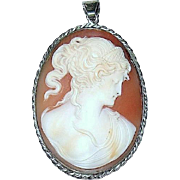 Rare Oval Carved Shell Cameo Pendant of Cleopatra's Death