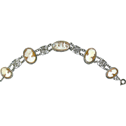 Elegant Carved SARDONYX Shell Cameo Bracelet—Cupids and Goddess Figures