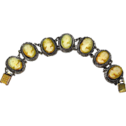 Antique Cameo Bracelet Decorated with SEVEN Days of the Week Female Cameos