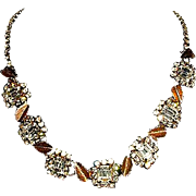 Glamorous Hobe' Sparkling Crystal and Mixed Metal Leaf Designed Necklace