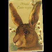 Scarce Large Bunny Rabbit's Head Easter Postcard