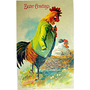 Fantasy Easter Postcard—Big Daddy Rooster Guards Nesting Hen