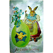 Humanized Grandma Easter Rabbit and Baby Chick Postcard