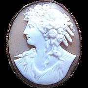 "Cocoa Brown Carved Sardonyx Shell w Left Facing Goddess ""Flora"""