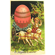 Beautiful Easter Postcard—Child w Lambs and Huge Easter Egg