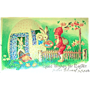 Whimsical Fantasy Easter Postcard—Gnome, Dressed Rabbits, Egg House