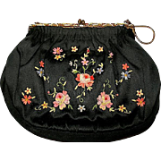 Stunning French Black Silk Satin Embroidered Purse w Beaded Frame