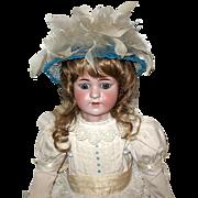 Exquisite Simon Halbig 550 Doll, Gorgeous White Cotton Eyelet Ruffled Dress