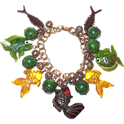 Rare 30's Copper Charm Bracelet w Fantasy Bakelite Fish Charms and Beads