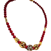 Gorgeous Lanvin Signed Necklace-- Dark Coral, Goldtone & Silvertone Beads