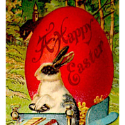 Fantasy Easter Postcard—Humanized Rabbit Moves Huge Egg in Auto