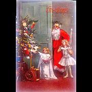 "Rare Valentine's Co. ""ARTOTYPE"" Unused Christmas Postcard—Santa Claus w Christmas Fairy"