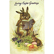 Tuck Easter Postcard, Humanized Rabbits Read to Baby — free shipping