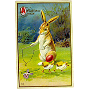 Easter Postcard—Ginger and White Rabbit Plays Diabolo — free shipping
