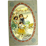 Easter Postcard--Girls and Angels—free shipping
