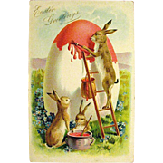 Tuck Easter Postcard—Papa Rabbit Paints HUGE Egg--free shipping