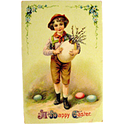Easter Gel Postcard--Boy in Alpine Attire--free shipping