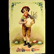 Easter Gel Postcard--Boy in Alpine Attire--free shipping