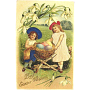 German Easter Postcard--Girls in Silk Find Rabbit's Nest—free shipping