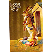 Unused Easter Postcard, Humanized Rabbit Protects Eggs with a Rifle
