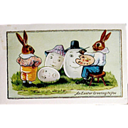 Humanized Rabbit Artist Paints Large Eggs Postcard
