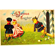 Humanized Military Guard Chick Easter Postcard -- free shipping